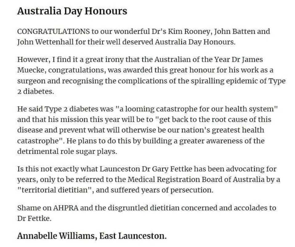 Letter To The Editor Gary Fettke Re Australian Of The Year 2020