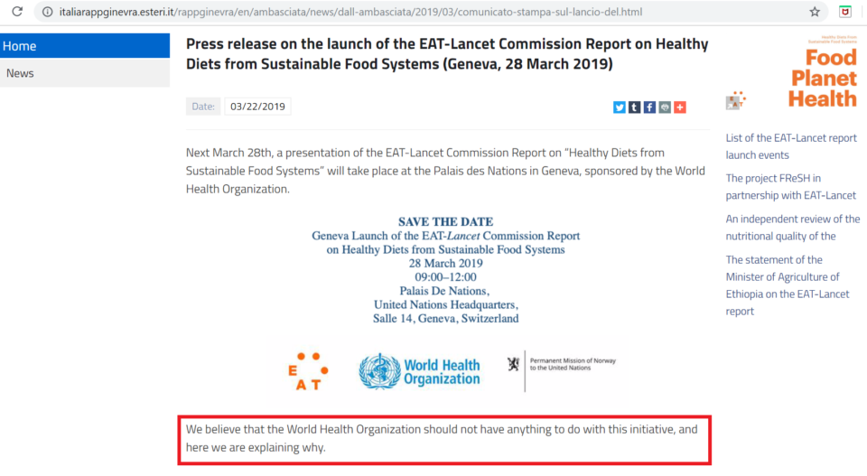 Italy Anti Eat Lancet Report